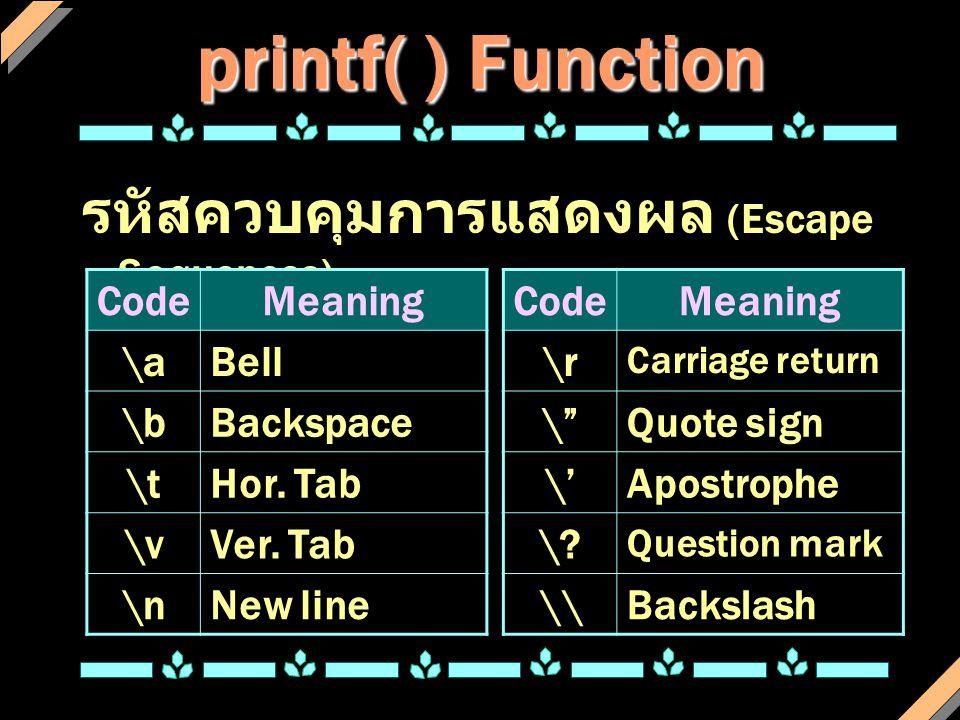 printf( ) Function int a = 100 ; float fp = 12.5 ; char ch = 'w' ; printf( a = %d ,a); printf( fp = %f\tch = %c\n ,fp,ch) ;