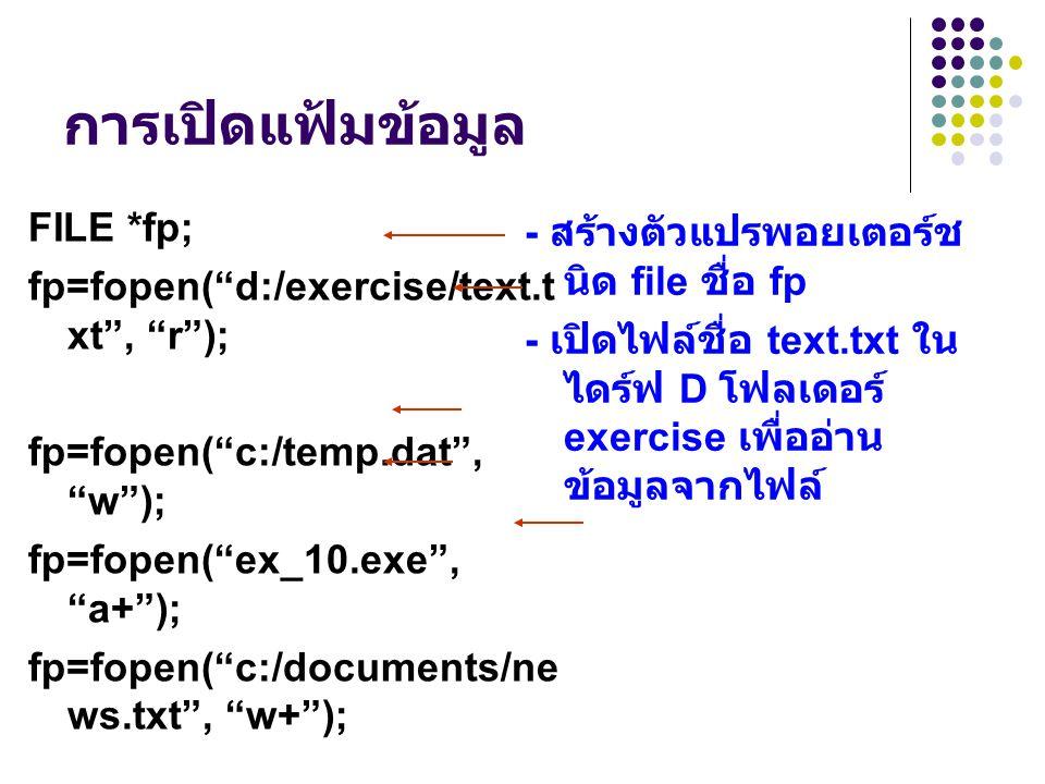 """การเปิดแฟ้มข้อมูล FILE *fp; fp=fopen(""""d:/exercise/text.t xt"""", """"r""""); fp=fopen(""""c:/temp.dat"""", """"w""""); fp=fopen(""""ex_10.exe"""", """"a+""""); fp=fopen(""""c:/documents/"""