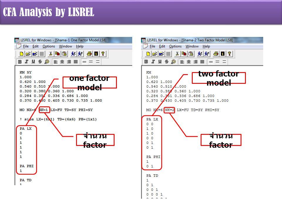 CFA Analysis by LISREL one factor model จำนวน factor two factor model จำนวน factor
