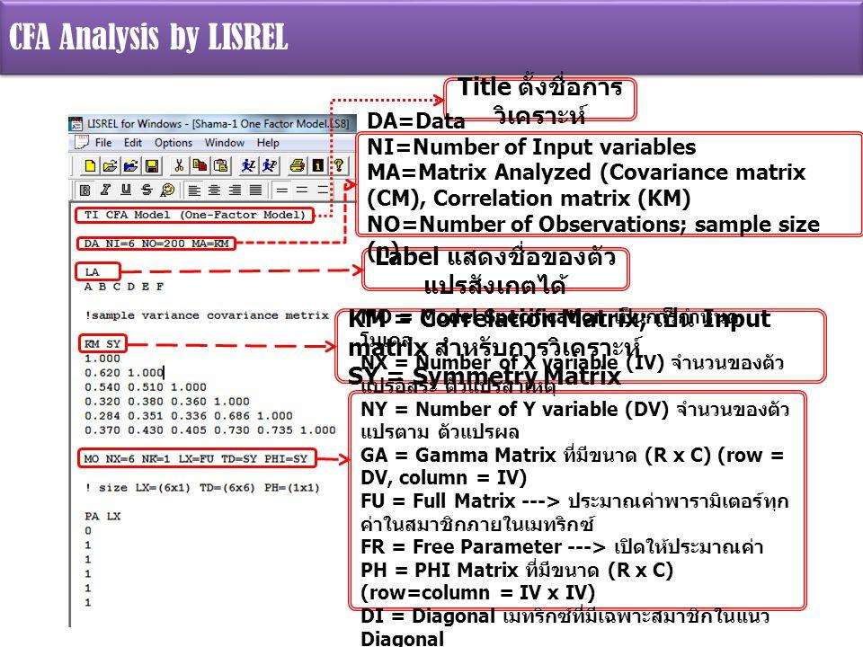 Label แสดงชื่อของตัว แปรสังเกตได้ KM = Correlation Matrix; เป็น Input matrix สำหรับการวิเคราะห์ SY = Symmetry Matrix MO = Model Specification เป็นการกำหนด โมเดล NX = Number of X variable (IV) จำนวนของตัว แปรอิสระ ตัวแปรสาเหตุ NY = Number of Y variable (DV) จำนวนของตัว แปรตาม ตัวแปรผล GA = Gamma Matrix ที่มีขนาด (R x C) (row = DV, column = IV) FU = Full Matrix ---> ประมาณค่าพารามิเตอร์ทุก ค่าในสมาชิกภายในเมทริกซ์ FR = Free Parameter ---> เปิดให้ประมาณค่า PH = PHI Matrix ที่มีขนาด (R x C) (row=column = IV x IV) DI = Diagonal เมทริกซ์ที่มีเฉพาะสมาชิกในแนว Diagonal ส่วนสมาชิกเหนือและใต้แนว Diagonal มีค่าเป็น 0 Title ตั้งชื่อการ วิเคราะห์ DA=Data NI=Number of Input variables MA=Matrix Analyzed (Covariance matrix (CM), Correlation matrix (KM) NO=Number of Observations; sample size (n)