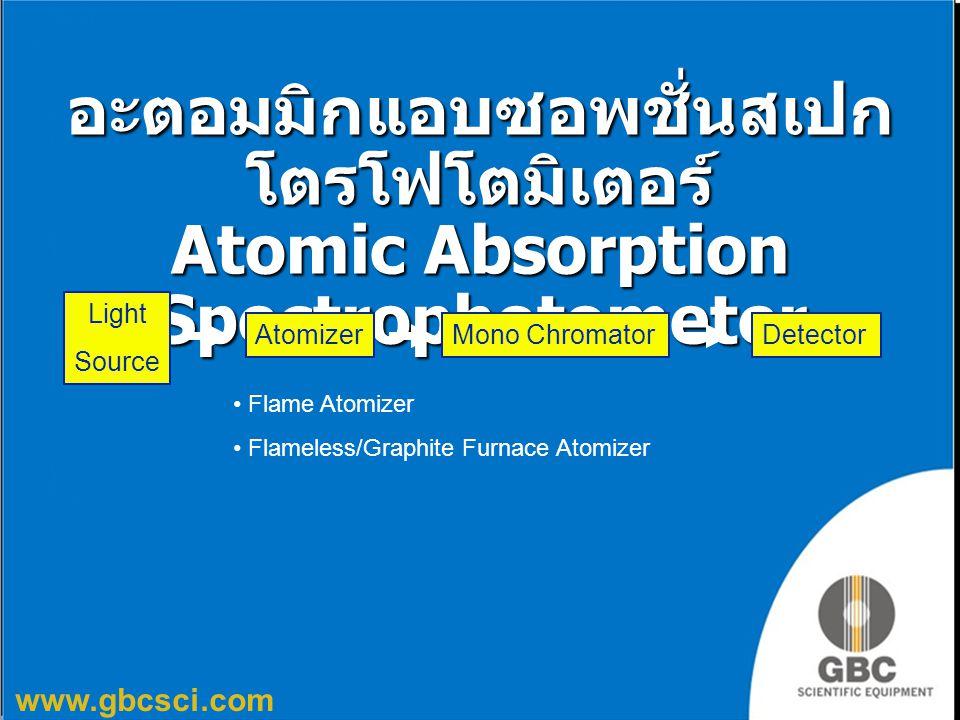 www.gbcsci.com อะตอมมิกแอบซอพชั่นสเปก โตรโฟโตมิเตอร์ Atomic Absorption Spectrophotometer Light Source AtomizerMono ChromatorDetector Flame Atomizer Fl