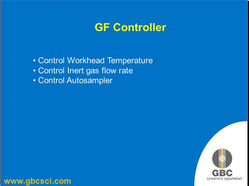 www.gbcsci.com GF Controller Control Workhead Temperature Control Inert gas flow rate Control Autosampler