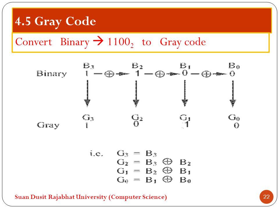 4.5 Gray Code Convert Binary  1100 2 to Gray code Suan Dusit Rajabhat University (Computer Science) 22