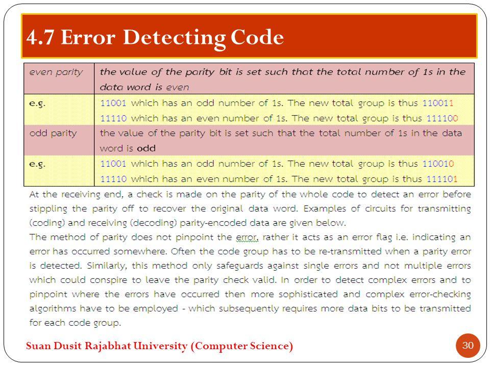 4.7 Error Detecting Code Suan Dusit Rajabhat University (Computer Science) 30