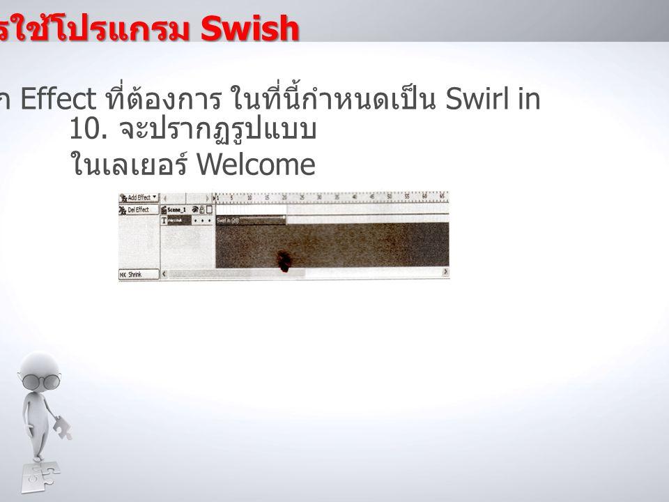 การใช้โปรแกรม Swish 9.เลือก Effect ที่ต้องการ ในที่นี้กำหนดเป็น Swirl in 10.