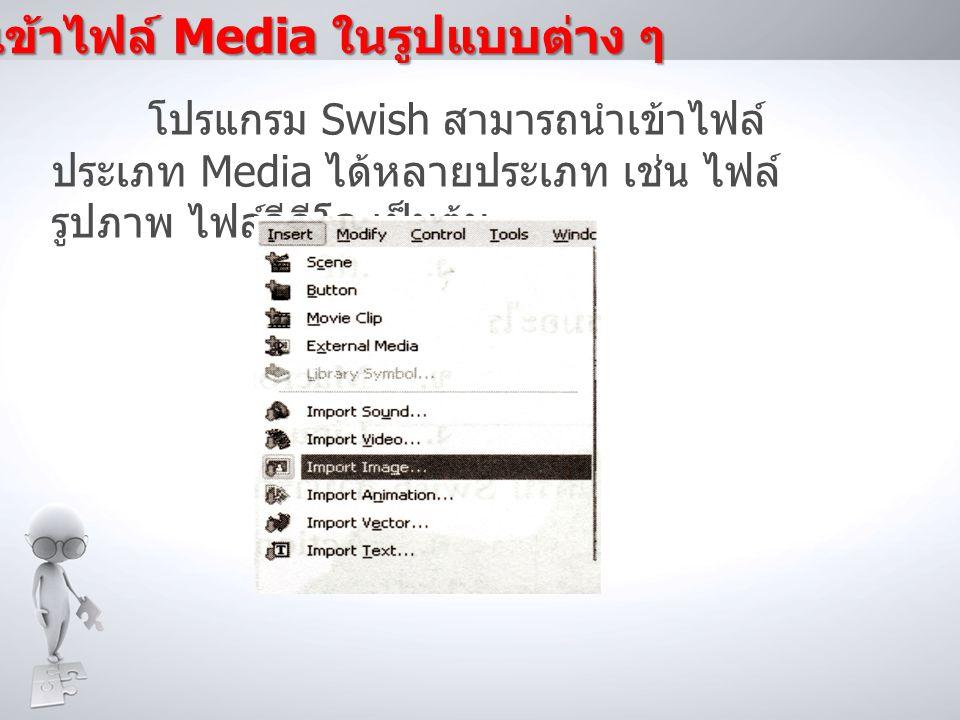 การนำเข้าไฟล์ Media ในรูปแบบต่าง ๆ โปรแกรม Swish สามารถนำเข้าไฟล์ ประเภท Media ได้หลายประเภท เช่น ไฟล์ รูปภาพ ไฟล์วีดีโอ เป็นต้น