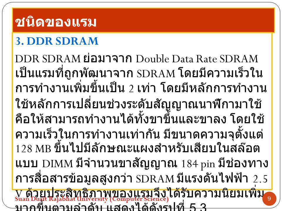 ชนิดของแรม 3. DDR SDRAM DDR SDRAM ย่อมาจาก Double Data Rate SDRAM เป็นแรมที่ถูกพัฒนาจาก SDRAM โดยมีความเร็วใน การทำงานเพิ่มขึ้นเป็น 2 เท่า โดยมีหลักกา