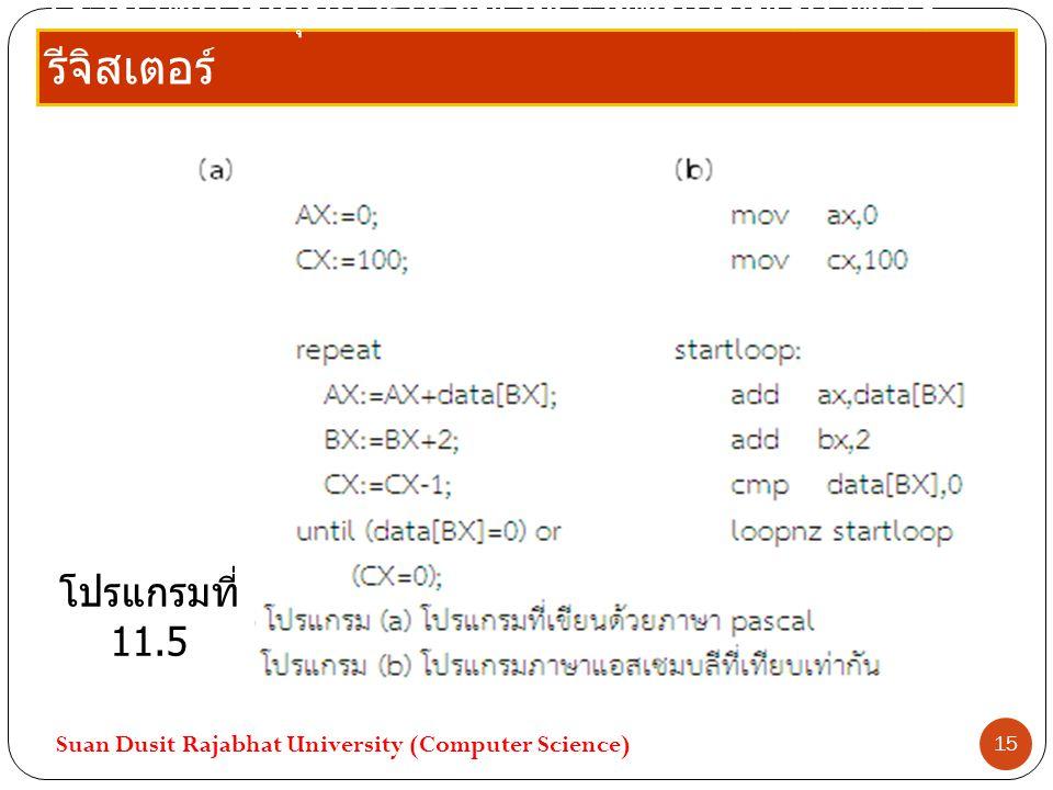 เงื่อนไขควบคุมการกระทำซ้ำจะขึ้นกับทั้งค่าของ รีจิสเตอร์ Suan Dusit Rajabhat University (Computer Science) 15 โปรแกรมที่ 11.5