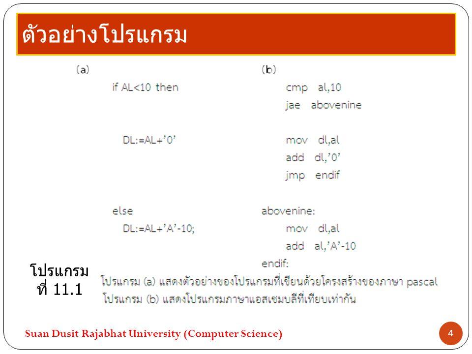 ตัวอย่างโปรแกรม Suan Dusit Rajabhat University (Computer Science) 4 โปรแกรม ที่ 11.1