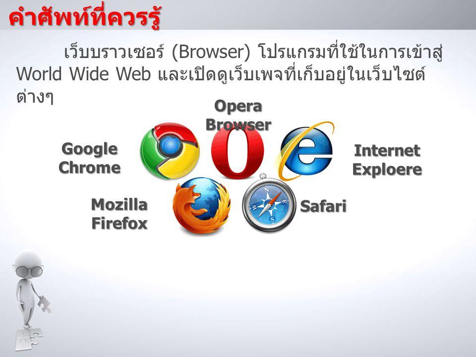 คำศัพท์ที่ควรรู้ เว็บบราวเซอร์ (Browser) โปรแกรมที่ใช้ในการเข้าสู่ World Wide Web และเปิดดูเว็บเพจที่เก็บอยู่ในเว็บไซต์ ต่างๆ Internet Exploere Safari