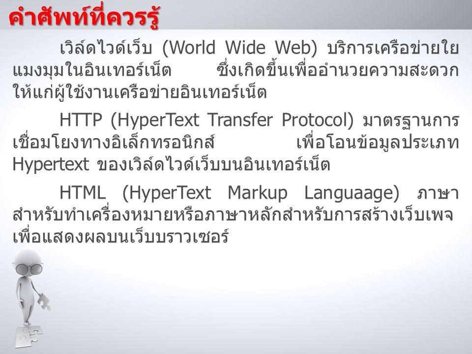 คำศัพท์ที่ควรรู้ เวิล์ดไวด์เว็บ (World Wide Web) บริการเครือข่ายใย แมงมุมในอินเทอร์เน็ต ซึ่งเกิดขึ้นเพื่ออำนวยความสะดวก ให้แก่ผู้ใช้งานเครือข่ายอินเทอ