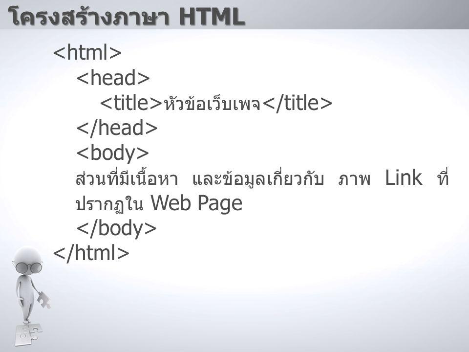 โครงสร้างภาษา HTML หัวข้อเว็บเพจ ส่วนที่มีเนื้อหา และข้อมูลเกี่ยวกับ ภาพ Link ที่ ปรากฏใน Web Page