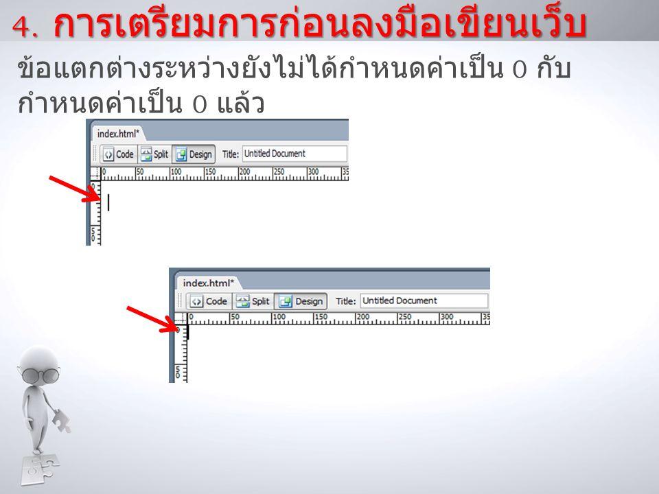 4. การเตรียมการก่อนลงมือเขียนเว็บ ข้อแตกต่างระหว่างยังไม่ได้กำหนดค่าเป็น 0 กับ กำหนดค่าเป็น 0 แล้ว