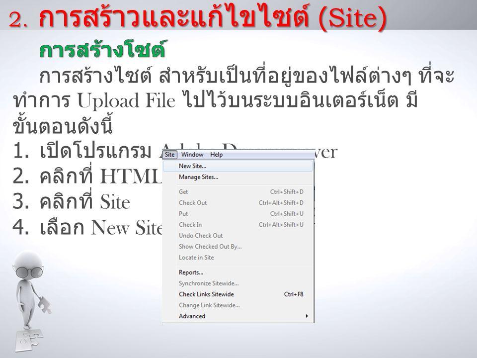 2. การสร้าวและแก้ไขไซต์ (Site)