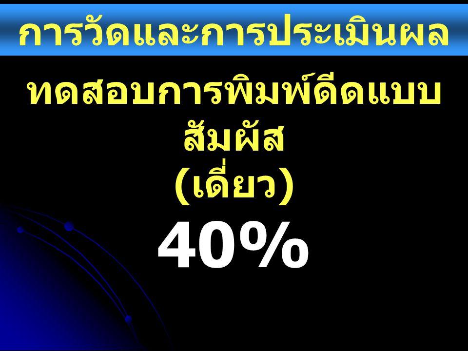 การวัดและการประเมินผล ทดสอบการพิมพ์ดีดแบบ สัมผัส ( เดี่ยว ) 40%