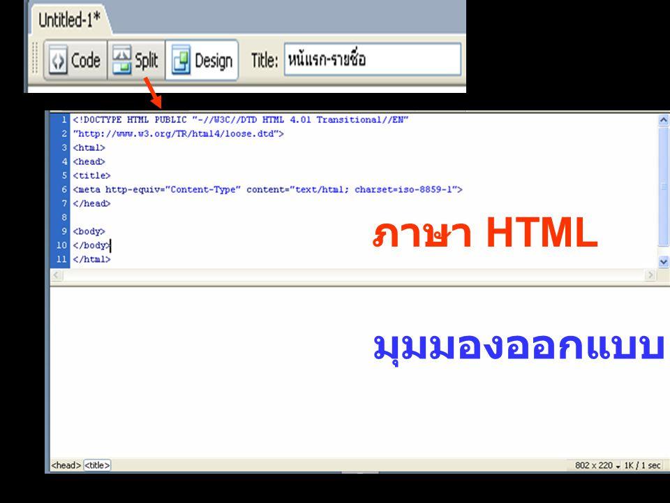 ภาษา HTML มุมมองออกแบบ