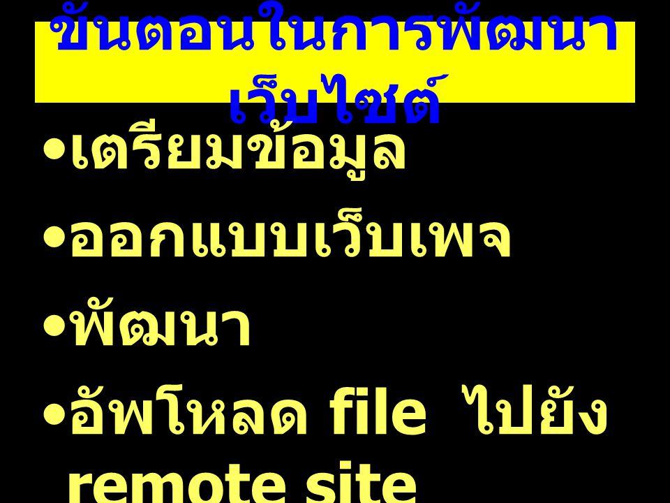 ขั้นตอนในการพัฒนา เว็บไซต์ เตรียมข้อมูล ออกแบบเว็บเพจ พัฒนา อัพโหลด file ไปยัง remote site