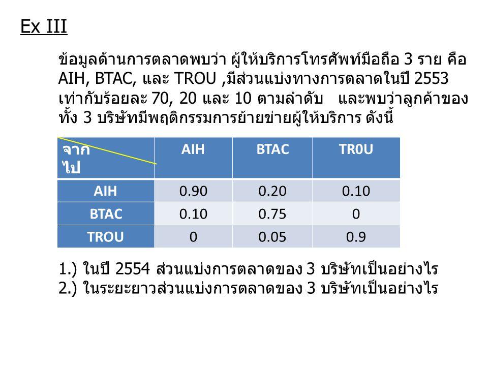Ex III จาก ไป AIHBTACTR0U AIH0.900.200.10 BTAC0.100.750 TROU00.050.9 ข้อมูลด้านการตลาดพบว่า ผู้ให้บริการโทรศัพท์มือถือ 3 ราย คือ AIH, BTAC, และ TROU,ม