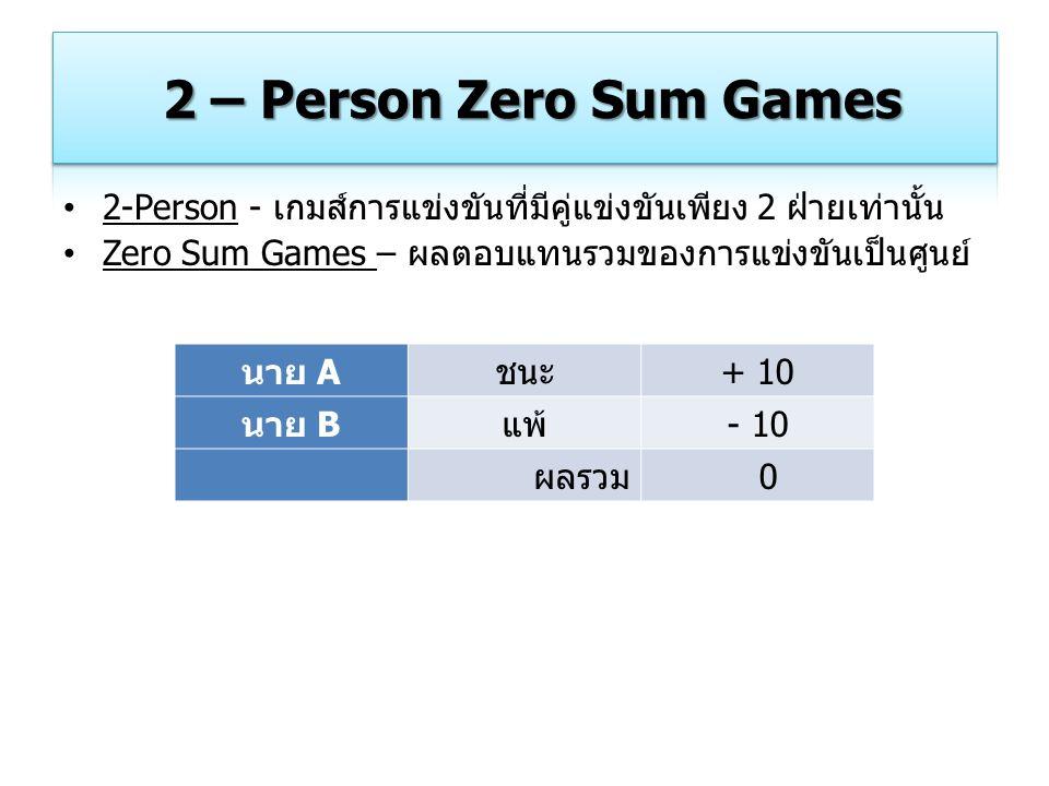 2-Person - เกมส์การแข่งขันที่มีคู่แข่งขันเพียง 2 ฝ่ายเท่านั้น Zero Sum Games – ผลตอบแทนรวมของการแข่งขันเป็นศูนย์ นาย Aชนะ+ 10 นาย Bแพ้- 10 ผลรวม 0