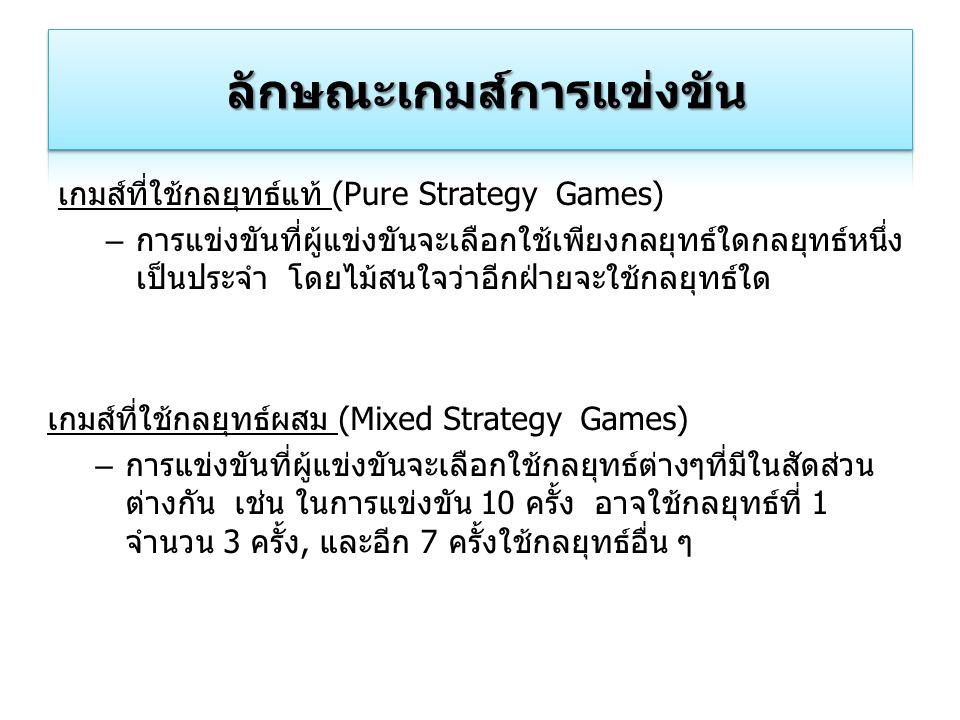 เกมส์ที่ใช้กลยุทธ์แท้ (Pure Strategy Games) – การแข่งขันที่ผู้แข่งขันจะเลือกใช้เพียงกลยุทธ์ใดกลยุทธ์หนึ่ง เป็นประจำ โดยไม้สนใจว่าอีกฝ่ายจะใช้กลยุทธ์ใด
