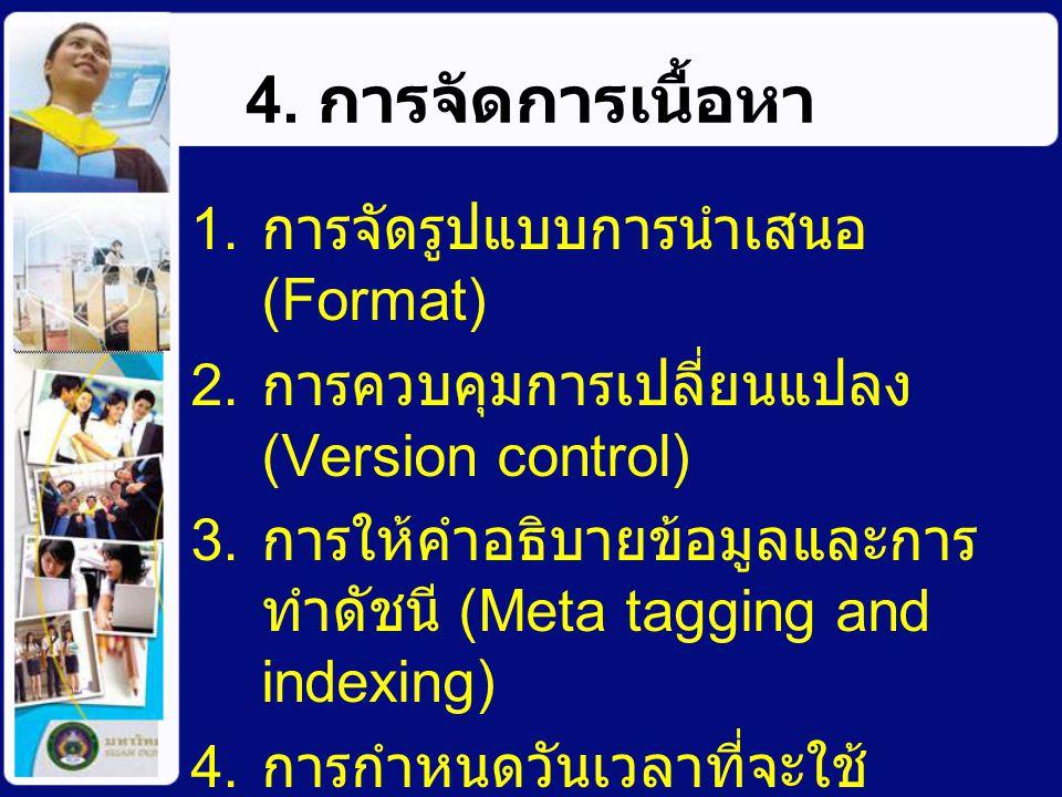 5. การเผยแพร่เนื้อหา ไม่เผยแพร่ เผยแพร่