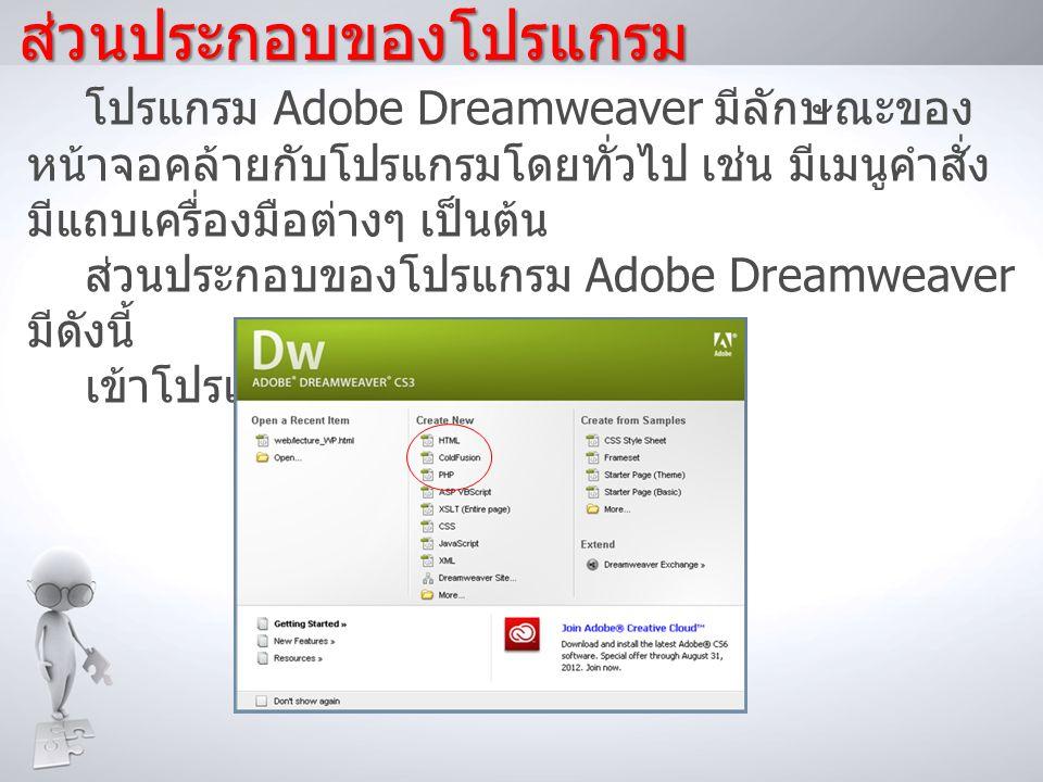 ส่วนประกอบของโปรแกรม โปรแกรม Adobe Dreamweaver มีลักษณะของ หน้าจอคล้ายกับโปรแกรมโดยทั่วไป เช่น มีเมนูคำสั่ง มีแถบเครื่องมือต่างๆ เป็นต้น ส่วนประกอบของ