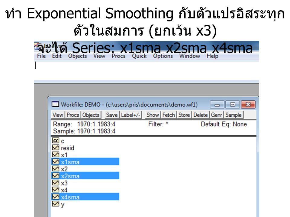 ทำ Exponential Smoothing กับตัวแปรอิสระทุก ตัวในสมการ ( ยกเว้น x3) จะได้ Series: x1sma x2sma x4sma