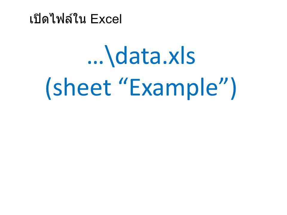 "…\data.xls (sheet ""Example"") เปิดไฟล์ใน Excel"