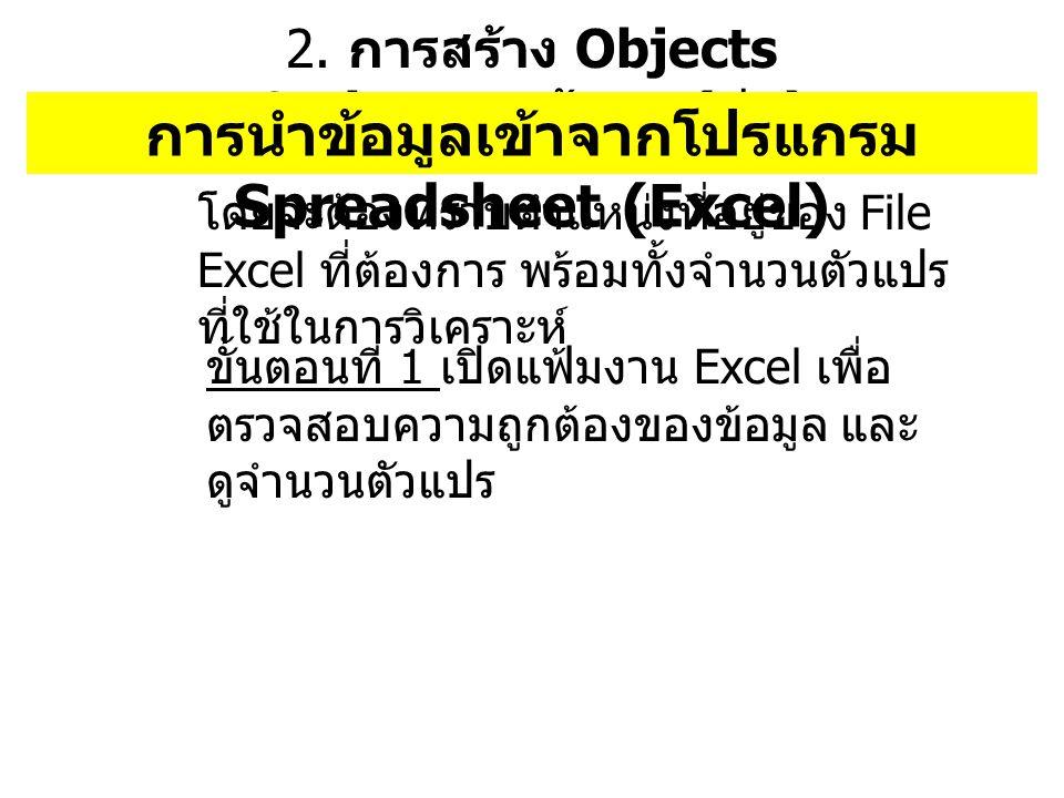 2. การสร้าง Objects Series ของข้อมูล ( ต่อ ) การนำข้อมูลเข้าจากโปรแกรม Spreadsheet (Excel) โดยจะต้องทราบตำแหน่งที่อยู่ของ File Excel ที่ต้องการ พร้อมท