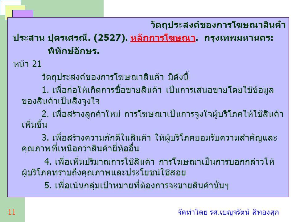 11 จัดทำโดย รศ.เบญจรัตน์ สีทองสุก วัตถุประสงค์ของการโฆษณาสินค้า ประสาน ปุตรเศรณี. (2527). หลักการโฆษณา. กรุงเทพมหานคร: พิทักษ์อักษร. หน้า 21 วัตถุประส
