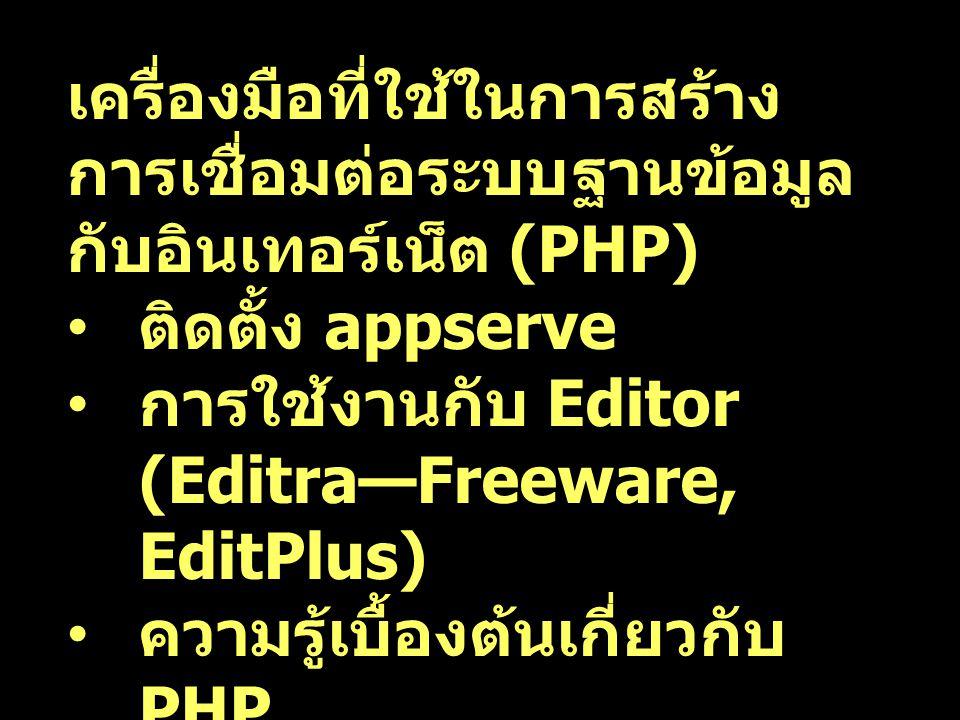 เครื่องมือที่ใช้ในการสร้าง การเชื่อมต่อระบบฐานข้อมูล กับอินเทอร์เน็ต (PHP) ติดตั้ง appserve การใช้งานกับ Editor (Editra—Freeware, EditPlus) ความรู้เบื้องต้นเกี่ยวกับ PHP การใช้งาน PHP