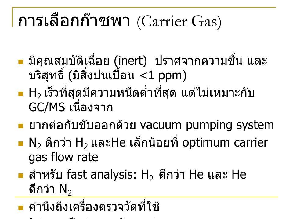 การเลือกก๊าซพา (Carrier Gas) มีคุณสมบัติเฉื่อย (inert) ปราศจากความชื้น และ บริสุทธิ์ ( มีสิ่งปนเปื้อน <1 ppm) H 2 เร็วที่สุดมีความหนืดต่ำที่สุด แต่ไม่