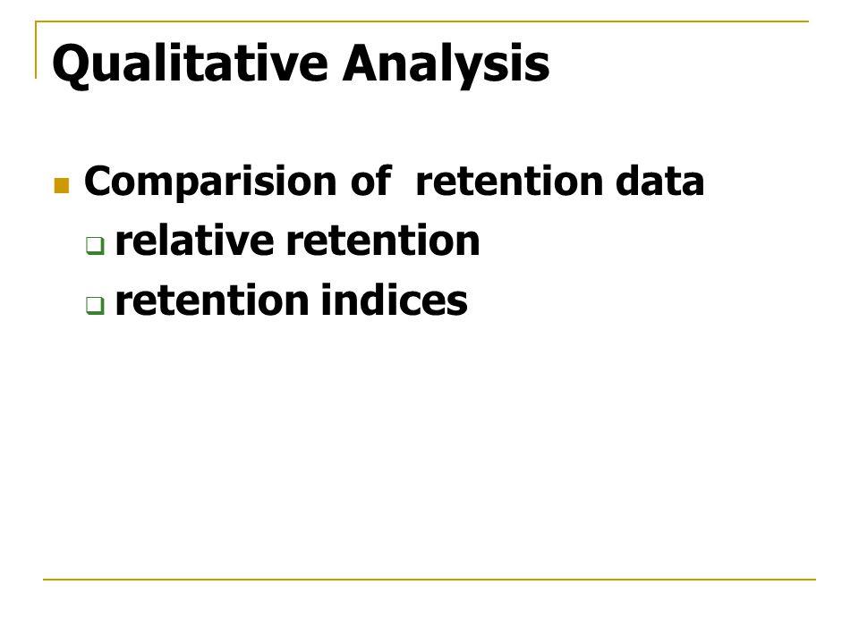 Qualitative Analysis Comparision of retention data  relative retention  retention indices