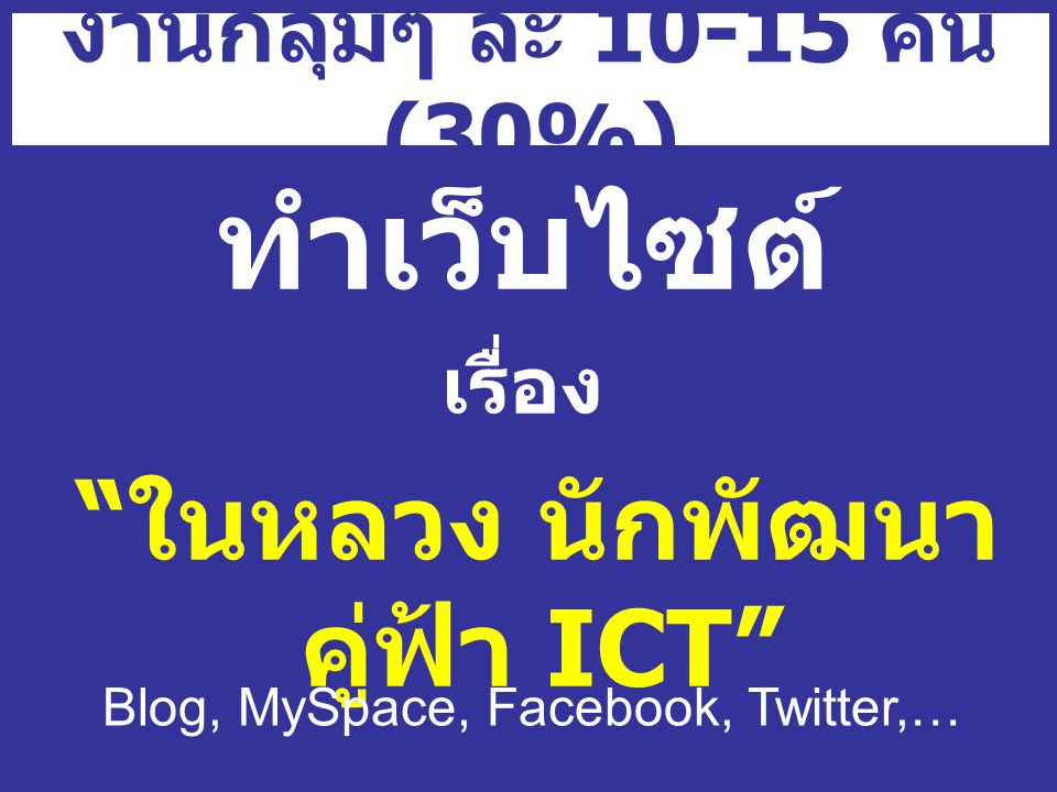 งานกลุ่มๆ ละ 10-15 คน (30%) ทำเว็บไซต์ เรื่อง ในหลวง นักพัฒนา คู่ฟ้า ICT Blog, MySpace, Facebook, Twitter,…