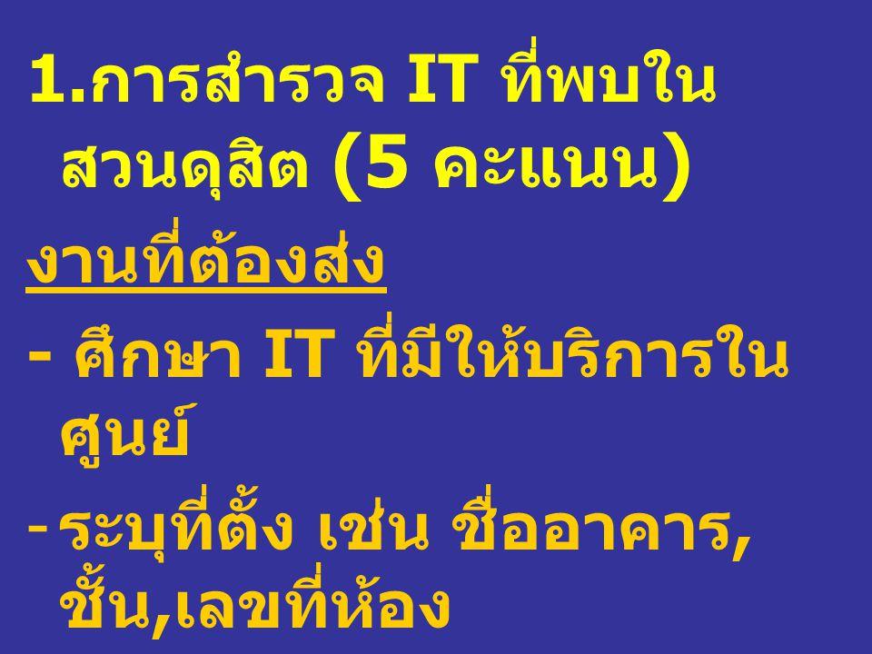 1. การสำรวจ IT ที่พบใน สวนดุสิต (5 คะแนน ) งานที่ต้องส่ง - ศึกษา IT ที่มีให้บริการใน ศูนย์ - ระบุที่ตั้ง เช่น ชื่ออาคาร, ชั้น, เลขที่ห้อง หรือชื่อเรีย