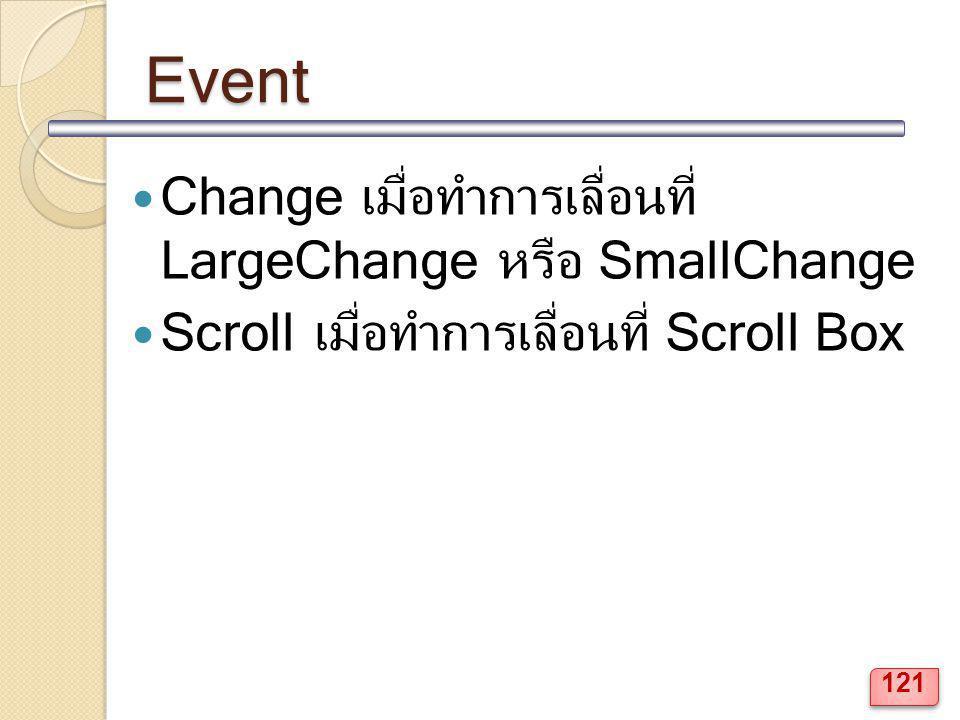 Event Change เมื่อทำการเลื่อนที่ LargeChange หรือ SmallChange Scrollเมื่อทำการเลื่อนที่ Scroll Box 121
