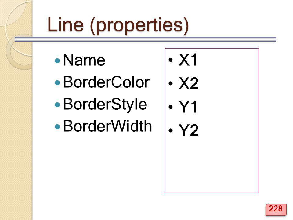 Line (properties) Name BorderColor BorderStyle BorderWidth X1 X2 Y1 Y2 228