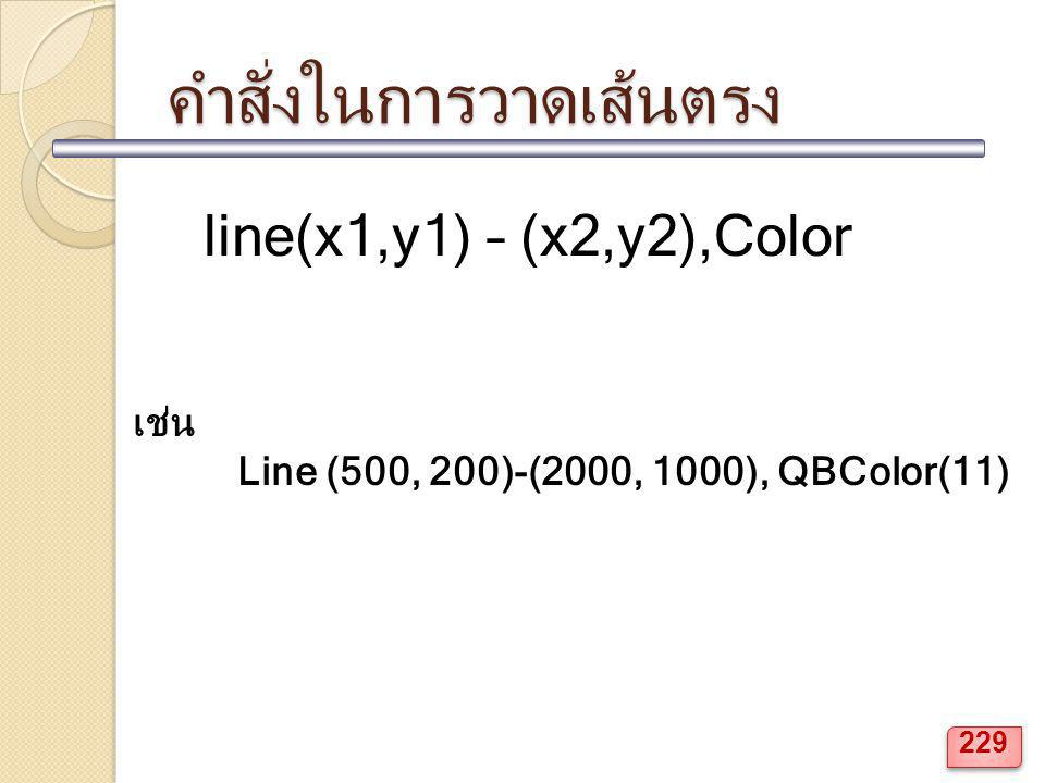 คำสั่งในการวาดเส้นตรง line(x1,y1) – (x2,y2),Color เช่น Line (500, 200)-(2000, 1000), QBColor(11) 229