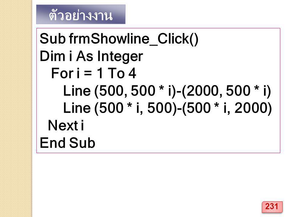 Sub frmShowline_Click() Dim i As Integer For i = 1 To 4 Line (500, 500 * i)-(2000, 500 * i) Line (500 * i, 500)-(500 * i, 2000) Next i End Sub ตัวอย่างงาน 231