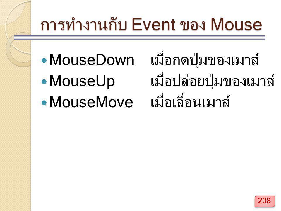การทำงานกับ Event ของ Mouse MouseDownเมื่อกดปุ่มของเมาส์ MouseUpเมื่อปล่อยปุ่มของเมาส์ MouseMoveเมื่อเลื่อนเมาส์ 238