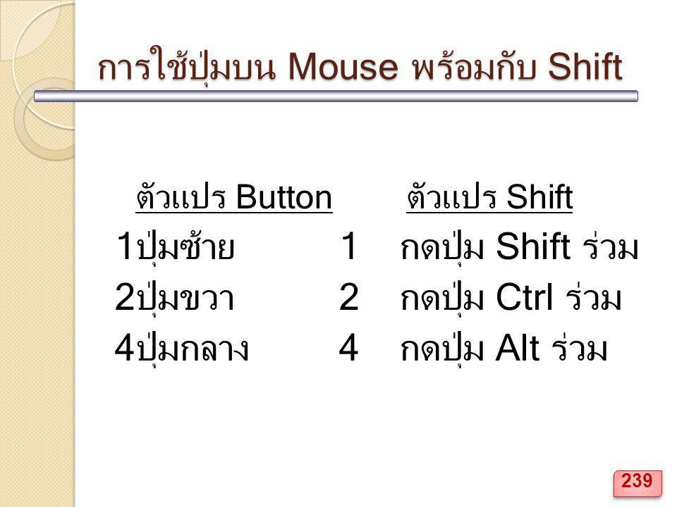 การใช้ปุ่มบน Mouse พร้อมกับ Shift ตัวแปร Buttonตัวแปร Shift 1ปุ่มซ้าย1 กดปุ่ม Shift ร่วม 2ปุ่มขวา2 กดปุ่ม Ctrl ร่วม 4ปุ่มกลาง4 กดปุ่ม Alt ร่วม 239