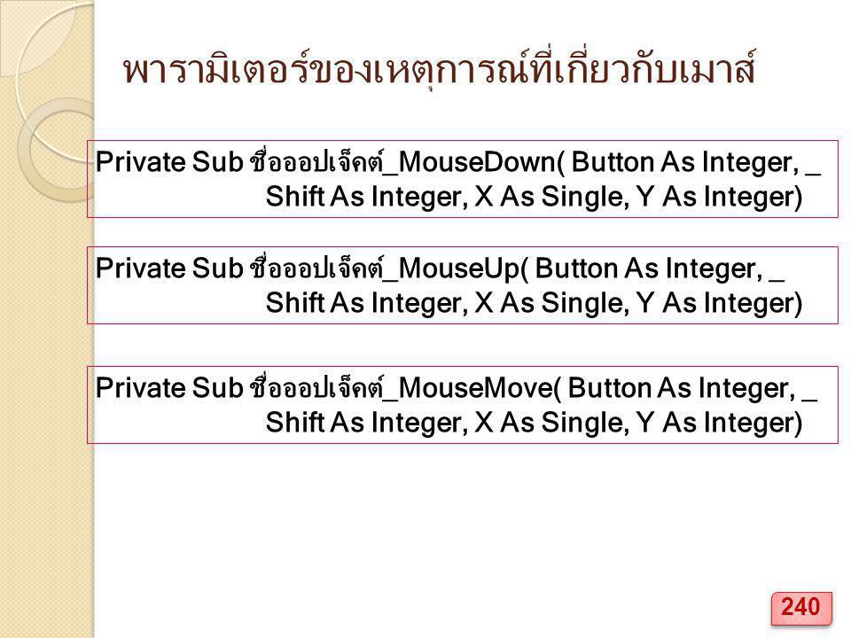พารามิเตอร์ของเหตุการณ์ที่เกี่ยวกับเมาส์ Private Sub ชื่อออปเจ็คต์_MouseDown( Button As Integer, _ Shift As Integer, X As Single, Y As Integer) Private Sub ชื่อออปเจ็คต์_MouseMove( Button As Integer, _ Shift As Integer, X As Single, Y As Integer) Private Sub ชื่อออปเจ็คต์_MouseUp( Button As Integer, _ Shift As Integer, X As Single, Y As Integer) 240