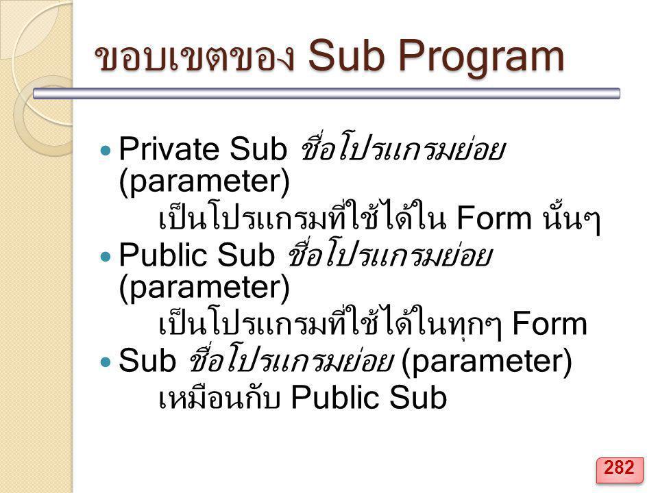 ขอบเขตของ Sub Program Private Sub ชื่อโปรแกรมย่อย (parameter) เป็นโปรแกรมที่ใช้ได้ใน Form นั้นๆ Public Sub ชื่อโปรแกรมย่อย (parameter) เป็นโปรแกรมที่ใ