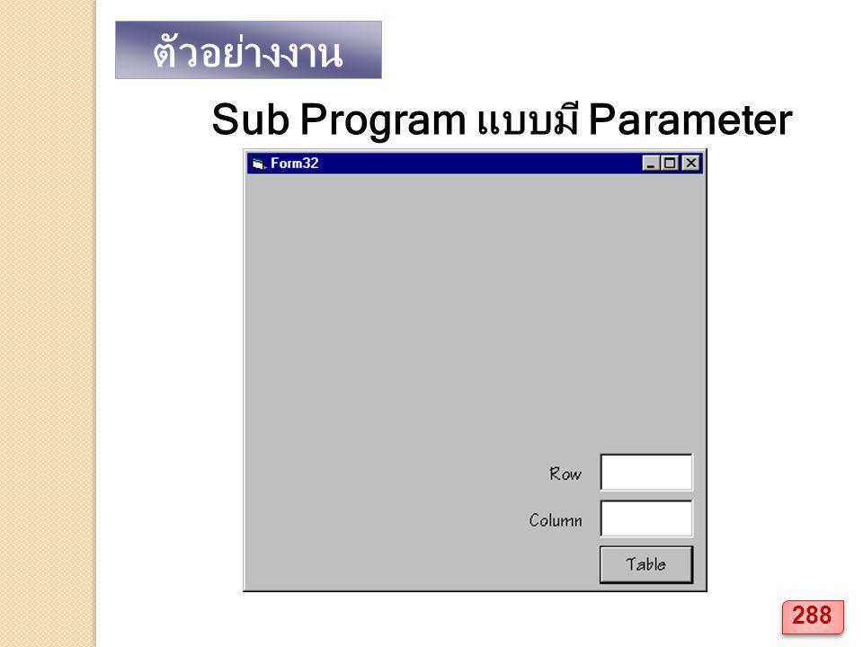 ตัวอย่างงาน Sub Program แบบมี Parameter 288