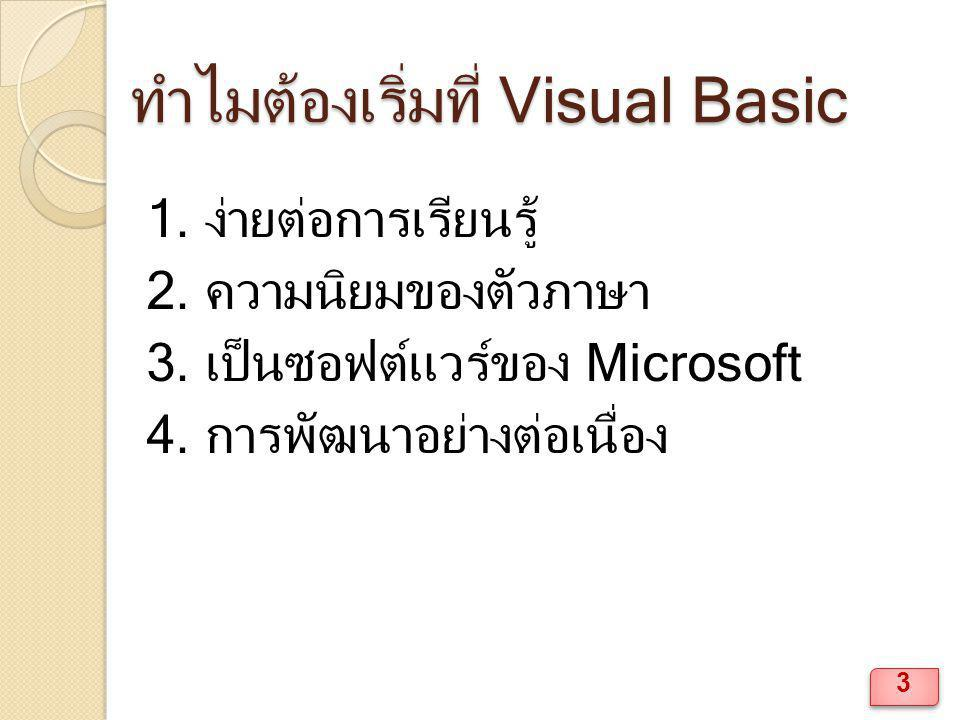 ส่วนประกอบของ Visual Basic แถบ Title Bar แถบ Menu Bar แถบ Tool Bar หน้าต่าง Form Windows ◦ View  Object 14