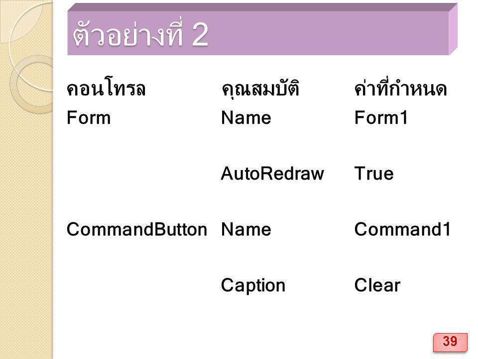 ตัวอย่างที่ 2 คอนโทรล คุณสมบัติค่าที่กำหนด Form NameForm1 AutoRedrawTrue CommandButton NameCommand1 CaptionClear 39
