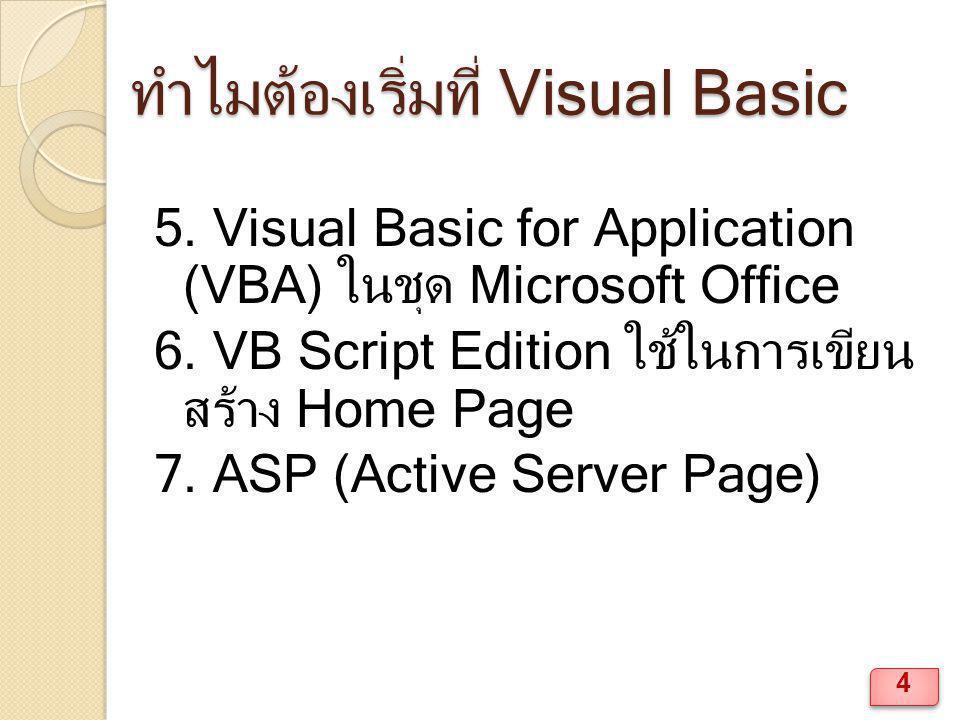 ส่วนประกอบของ Visual Basic หน้าต่าง Project Explorer ◦ View  Project Explorer หน้าต่าง Properties ◦ View  Properties Window 15