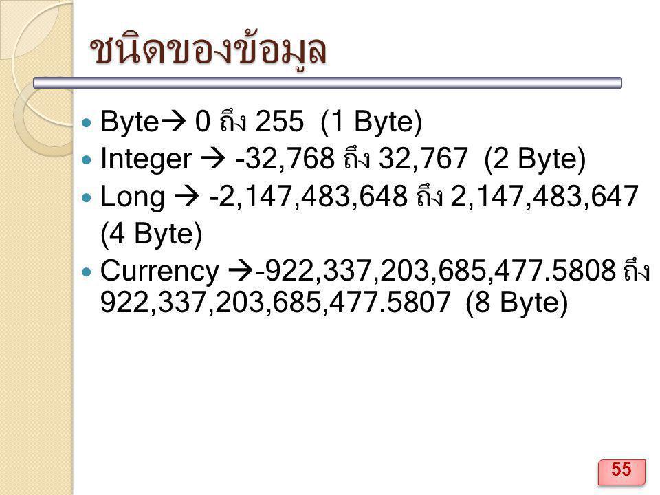 ชนิดของข้อมูล Byte  0 ถึง 255 (1 Byte) Integer  -32,768 ถึง 32,767 (2 Byte) Long  -2,147,483,648 ถึง 2,147,483,647 (4 Byte) Currency  -922,337,203
