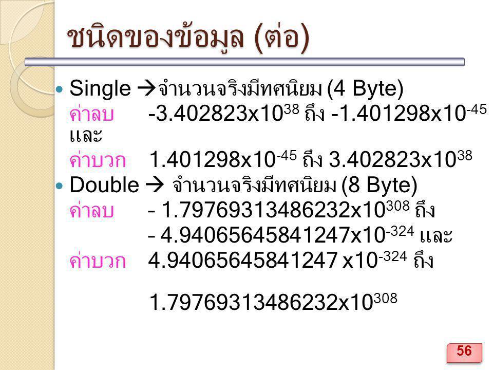 ชนิดของข้อมูล (ต่อ) Single  จำนวนจริงมีทศนิยม (4 Byte) ค่าลบ -3.402823x10 38 ถึง -1.401298x10 -45 และ ค่าบวก 1.401298x10 -45 ถึง 3.402823x10 38 Doubl