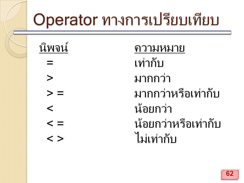 Operator ทางการเปรียบเทียบ นิพจน์ความหมาย =เท่ากับ >มากกว่า > =มากกว่าหรือเท่ากับ <น้อยกว่า < =น้อยกว่าหรือเท่ากับ ไม่เท่ากับ 62